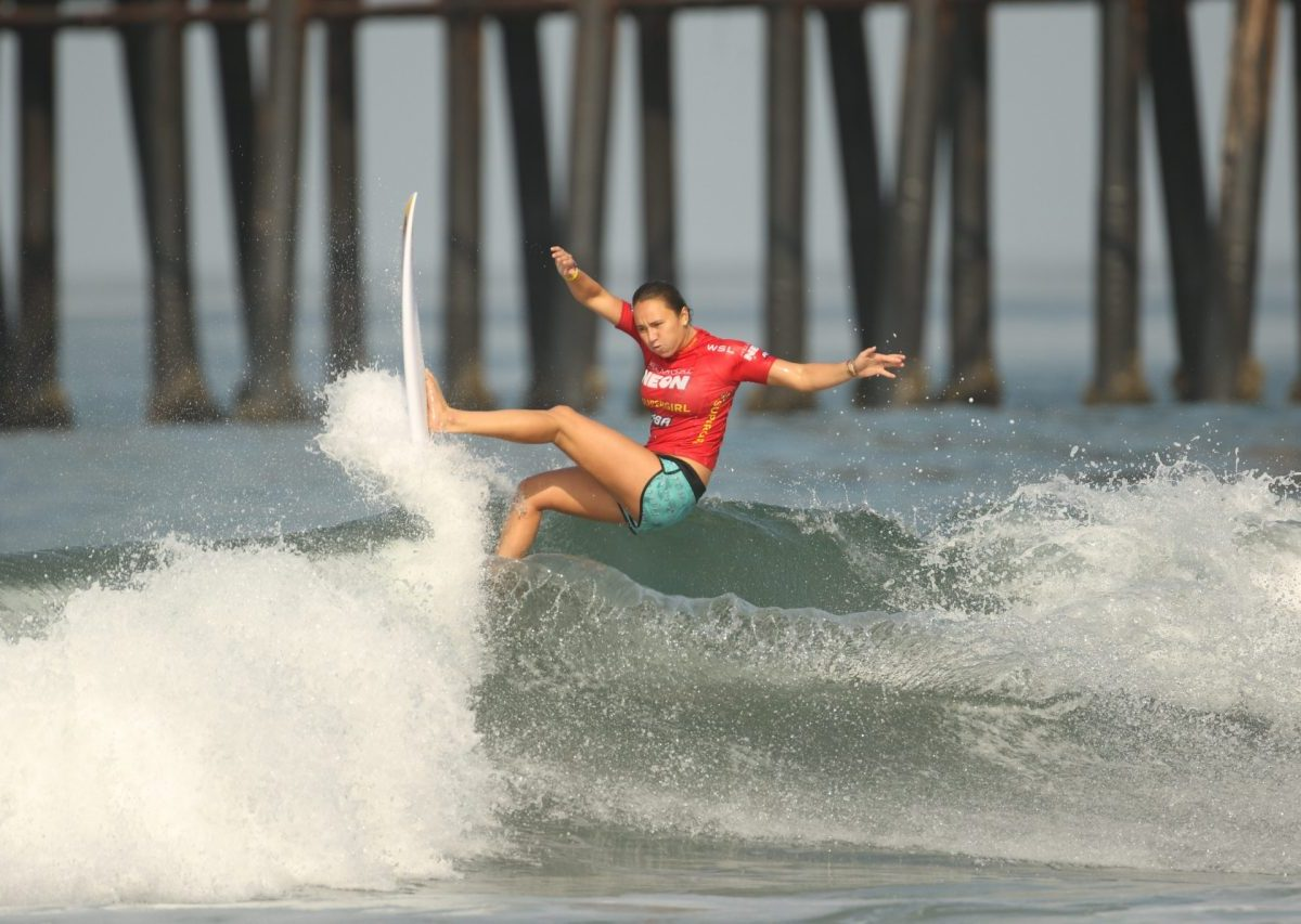 Photo of Carissa Moore surfing at Supergirl Pro in 2018, an all-women surf contest in Oceanside, CA.