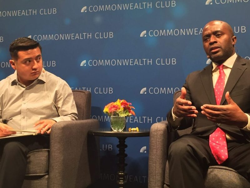 CALmatters' education writer Ricardo Cano interviews California Superintendent of Public Instruction Tony Thurmond on March 21, 2019, at the Commonwealth Club. in San Francisco. CALmatters photo