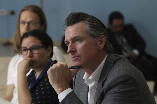 California Gov. Gavin Newsom during a meeting at the Divina Providencia Hospital in San Salvador, El Salvador. AP Photo/Salvador Melendez