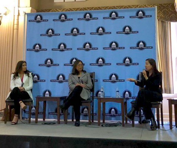 Lt. Gov. Eleni Kounalakis says the loss of state and local tax deductions on federal income taxes is a threat to California finances during a March 26, 2019, panel with Controller Betty Yee. Photo courtesy of Sacramento Press Club.