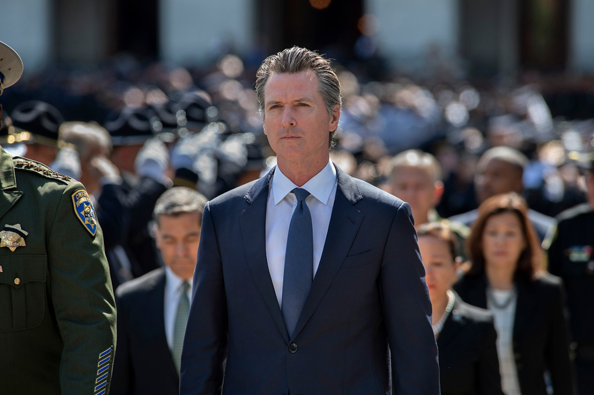 California Governor Gavin Newsom during the Peace Officers' Memorial Ceremony in Sacramento, Calif. Monday, May 6, 2019. Photo by Randall Benton for CALmatters.