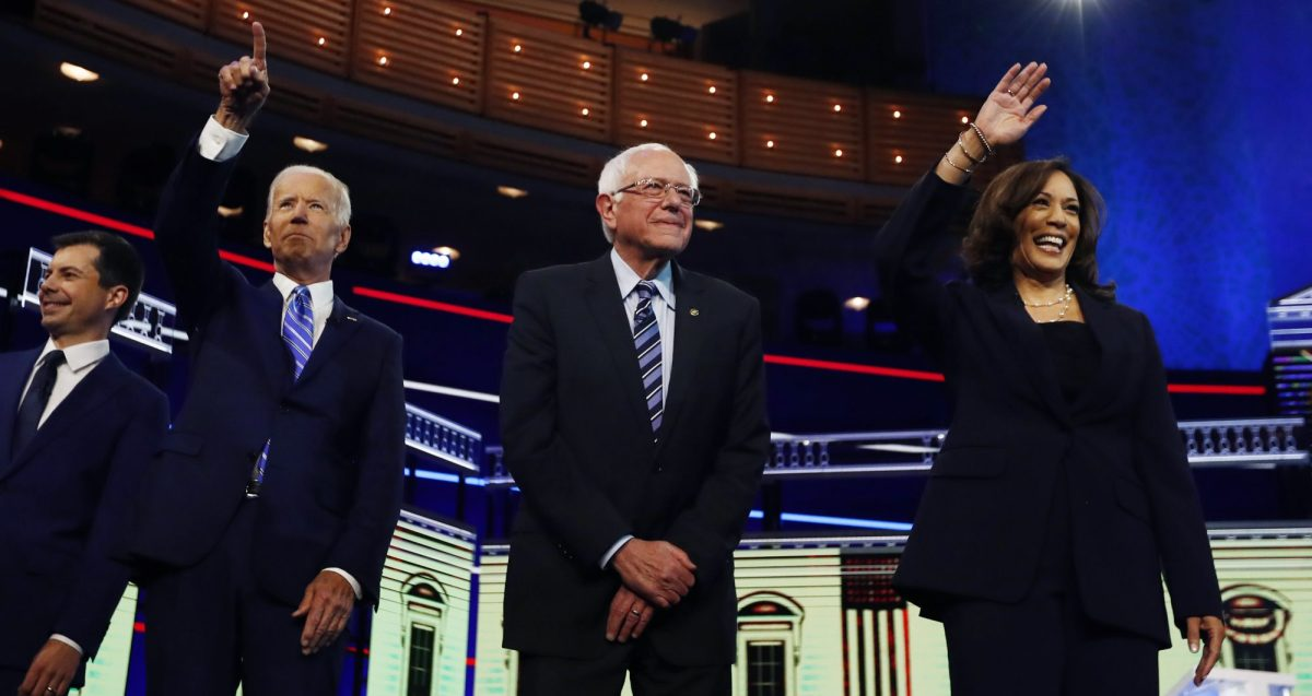 Democratic presidential candidates Pete Buttigieg, Joe Biden, Bernie Sanders, and Kamala Harris before the start of the Democratic primary debate hosted by NBC News at the Adrienne Arsht Center for the Performing Arts, Thursday, June 27, 2019, in Miami.