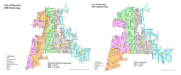 Two maps of Placentia. The first, in which the town's five districts run north south, was withdrawn after a threatened lawsuit. In the second one, the districts are somewhat more compact.