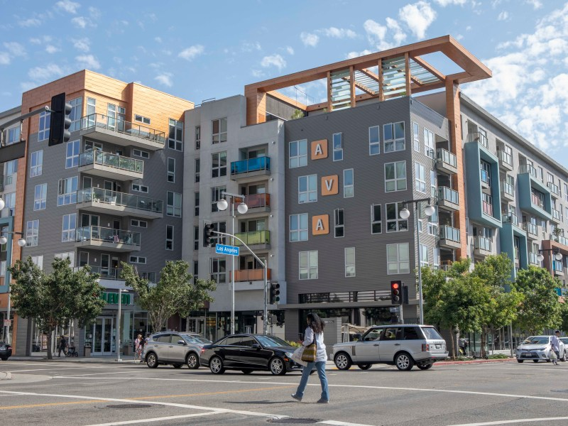 A luxury apartment complex in Little Tokyo in Los Angeles. Photo by Anne Wernikoff for CalMatters