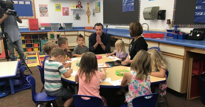 Gov. Gavin Newsom visits Nicole Etchison's second grade class at Paradise Ridge Elementary School, Aug. 21, 2019. Photo by Ricardo Cano/CalMatters.
