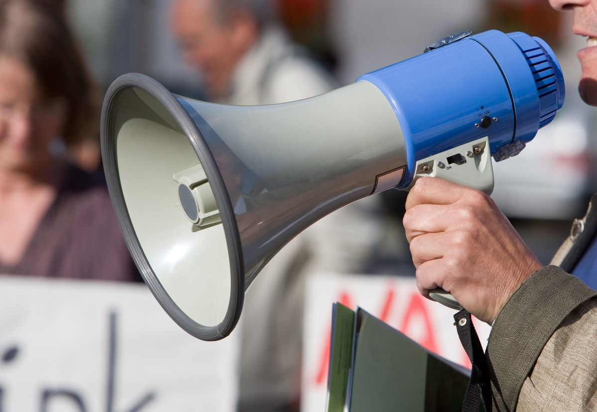 Close up of a megaphone during a demonstration.
