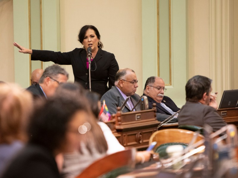 Assemblywoman Lorena Gonzalez speaks emotionally on favor of her bill AB 5, which would re-classify contract workers, before the concurrence vote in the assembly on September 11, 2019. The bill passed 56-15.