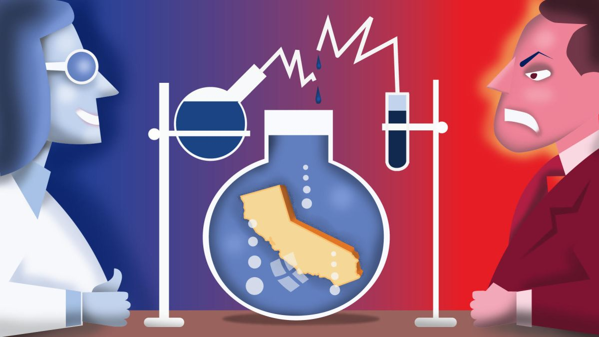 California has become a laboratory for progressive policies. Illustration by Dan Hubig for CalMatters