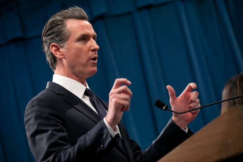 Gov. Gavin Newsom presents the 2020-21 state budget at a press conference at the California Capitol on January 10, 2020. Photo by Anne Wernikoff for CalMatters