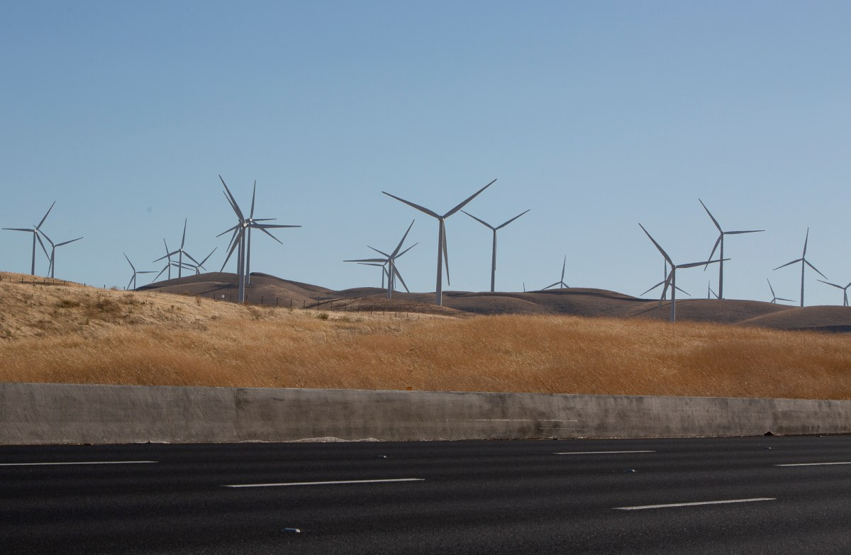 Wind turbines along highway 580