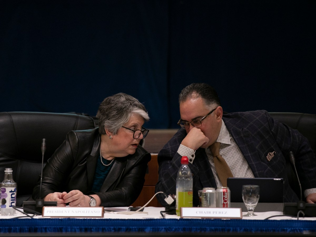 President of the University of California Janet Napolitano, left, and John A Perez, Chair of the UC Board of Regents speak before the start of the Regents meeting on January 23, 2020 at UCSF Mission Bay Conference Center
