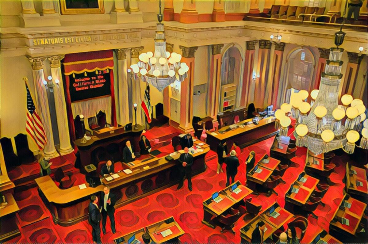 A photo illustration of the California Senate