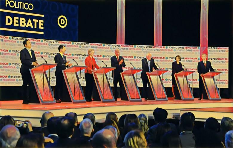 photo illustration of seven Democratic presidential candidates