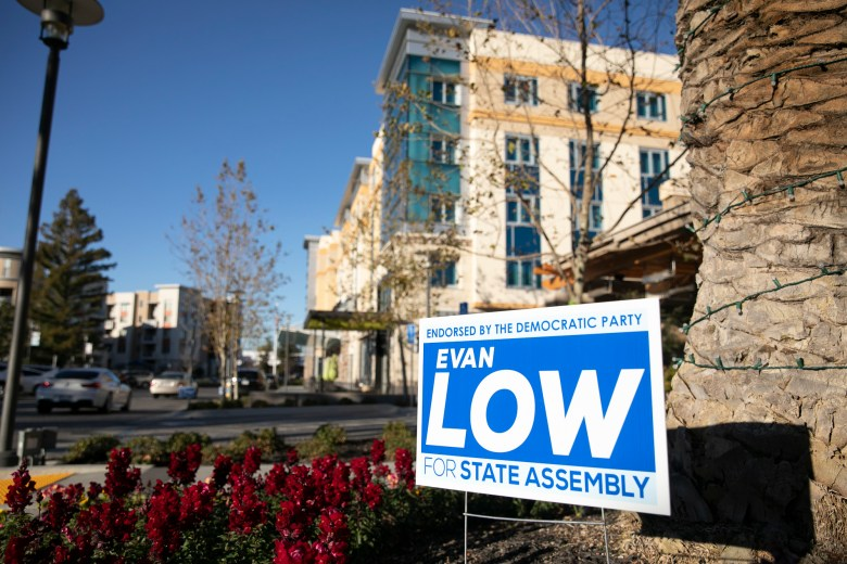 A campaign sign for Assemblymember Evan Low outside of the Marriott Residence Inn in Cupertino, where the Foundation for California's Technology and Innovation Econom hosted a two-day technology and policy summit for lawmakers and tech-industry representatives