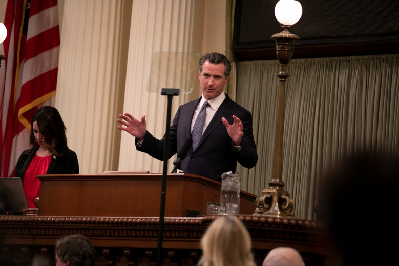 Gov. Gavin Newsom delivers the 2020 State of the State address. Photo by Anne Wernikoff for CalMatters