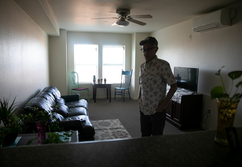 Eduardo Mendoza in his apartment in Martinez. All of Mendoza's furniture was gifted by friends and members of his church. Photo by Anne Wernikoff for CalMatters