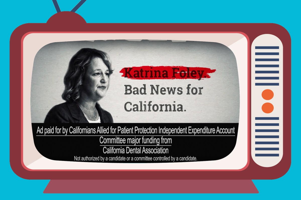 """Under a California campaign finance loophole, the committee Californians Allied for Patient Protection is not required to list three industry groups that contributed $49,000 each as """"major funding"""" sources. Illustration by Anne Wernikoff for CalMatters. Elements via iStock and YouTube"""