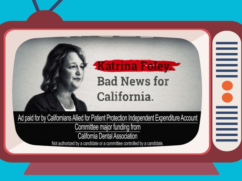 "Under a California campaign finance loophole, the committee Californians Allied for Patient Protection is not required to list three industry groups that contributed $49,000 each as ""major funding"" sources. Illustration by Anne Wernikoff for CalMatters. Elements via iStock and YouTube"