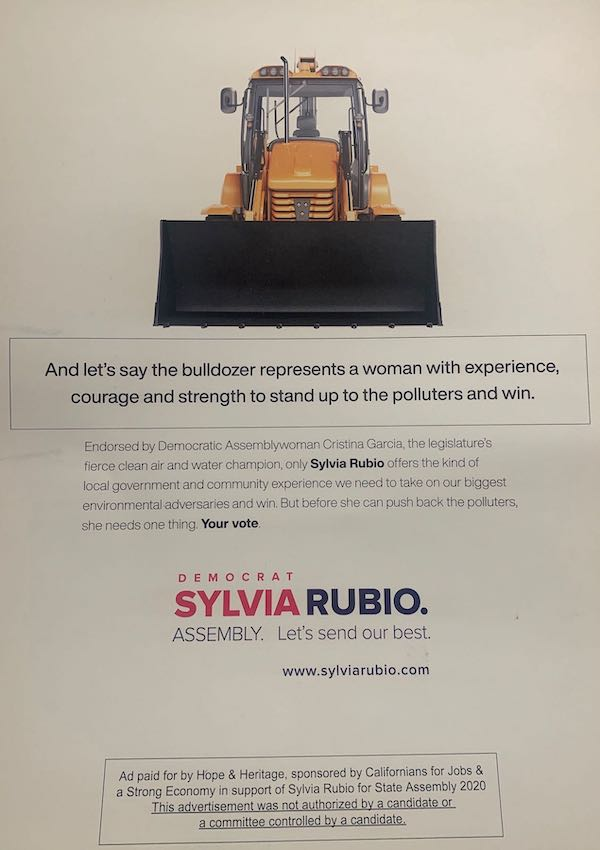 A mailer paid for by an independent expenditure committee to support state Senate candidate Sylvia Rubio. The funding group, Hope & Heritage, is funded by the pharmaceutical industry, the dialysis clinic operator Fresenius, and other large business.