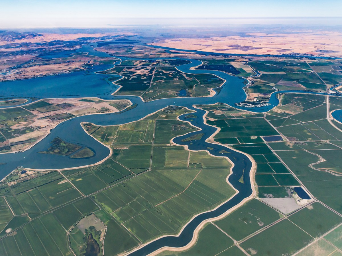 Arial view of Sacramento River and San Joaquin River Delta.