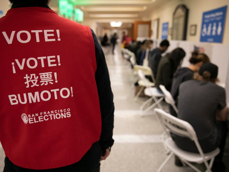 The polling place at San Francisco City Hall on Super Tuesday 2020. Photo by Anne Wernikoff for CalMatters