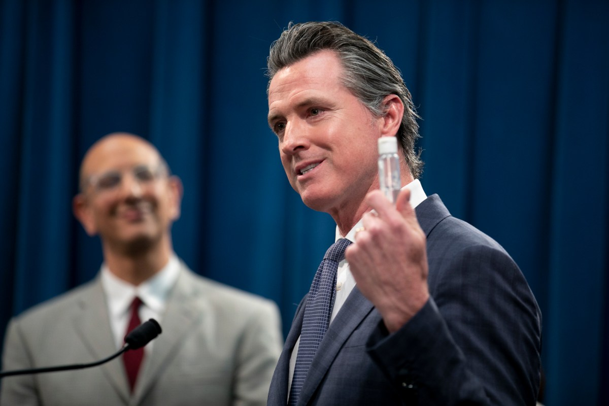In a press conference following the first COVID-19 death in California, Gov. Gavin Newsom condemns price gauging on necessary medical and safety items such as hand sanitizer. Photo by Anne Wernikoff for CalMatters