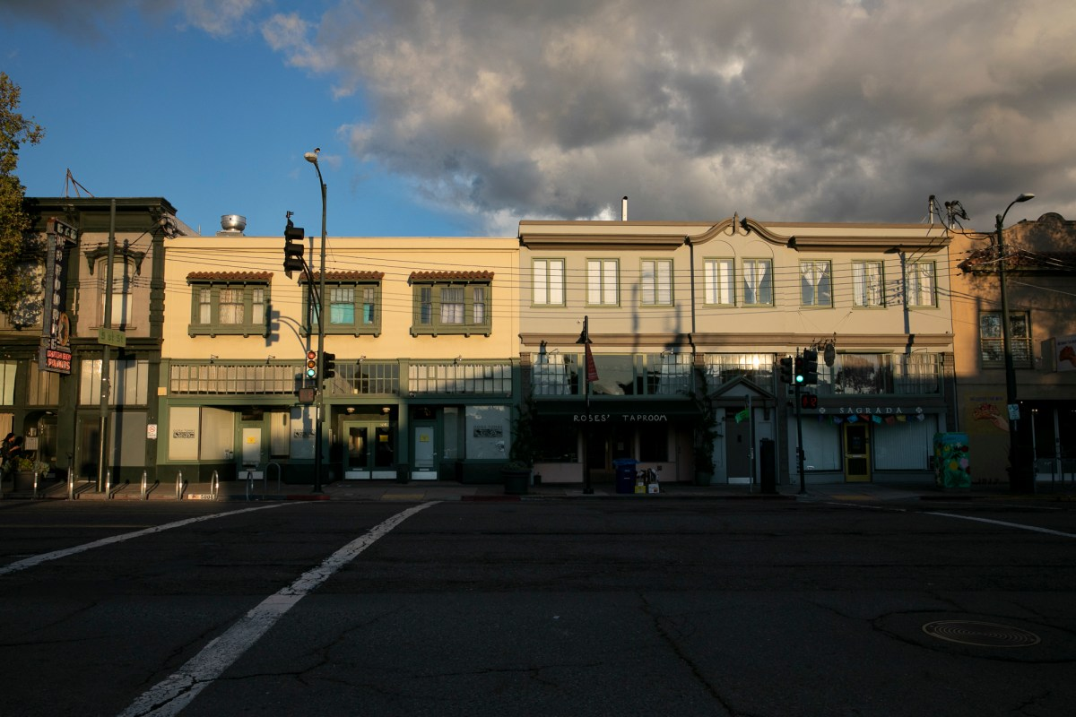 Shuttered businesses along Telegraph Avenue in Oakland on March 16, 2020. Today, seven counties enacted a shelter in place order until April 7 to curb the spread of novel coronavirus