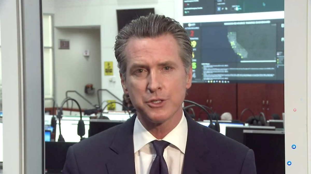 Gov. Gavin Newsom provides an update on the state's COVID-19 response over Facebook live.