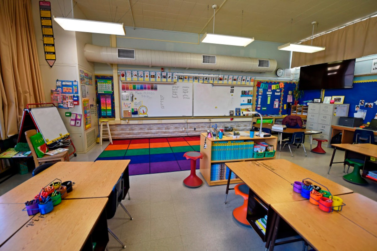 A classroom sits empty at the end of school at Monte Gardens Elementary in Concord, Calif., on Friday, March 13, 2020.