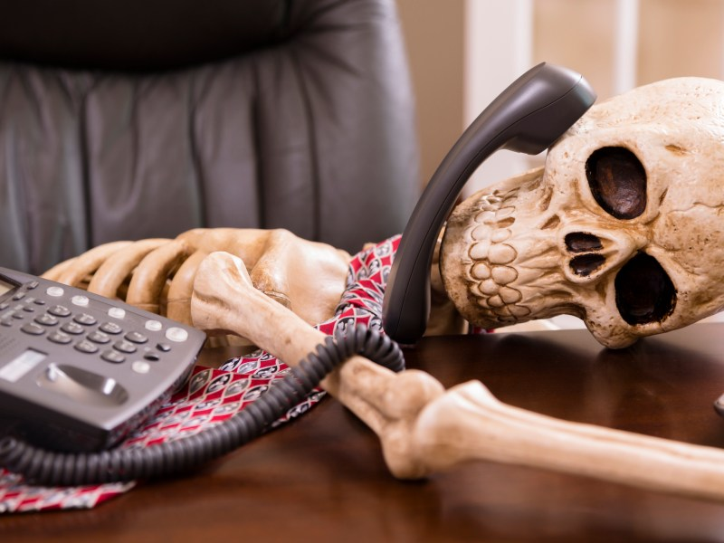 "Business: Man died while waiting ""on hold."" Office phone."