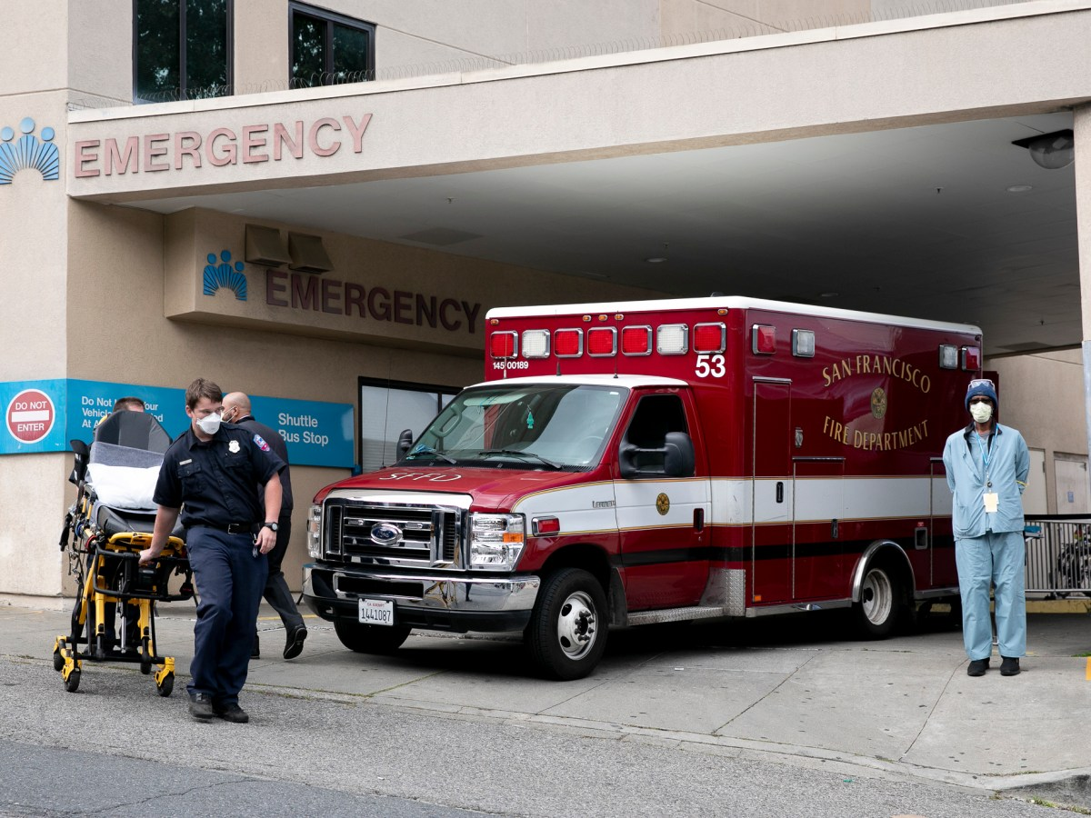 First responders at a Kaiser emergency room in San Francisco on April 9, 2020. Today, Gov. Gavin Newsom announced that the state would make hotel rooms available to care providers in regions with high rates of COVID-19 infections who need to self-isolate. Photo by Anne Wernikoff for CalMatters