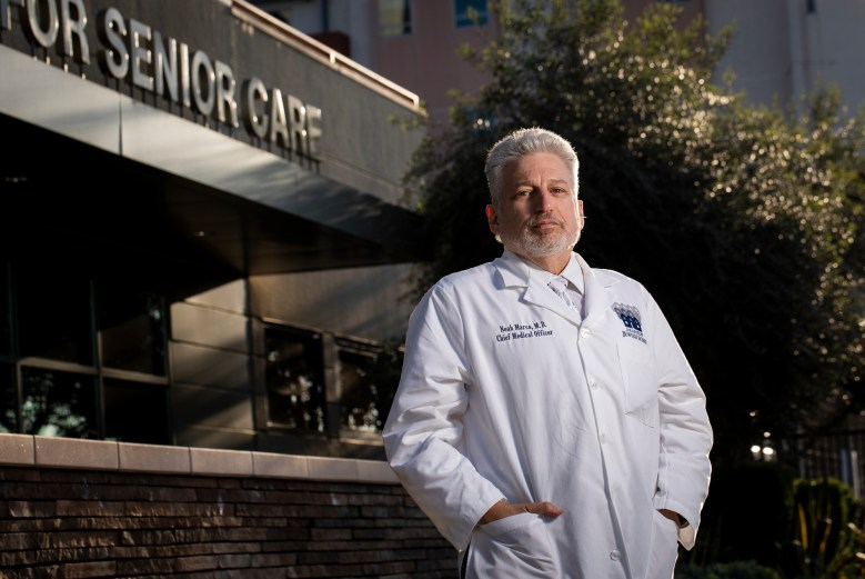 Dr. Noah S. Marco, Jewish Home Chief Medical Officer, photographed at the Grancell Village Campus in Reseda, Ca. Photo by Nancy Pastor for CalMatters