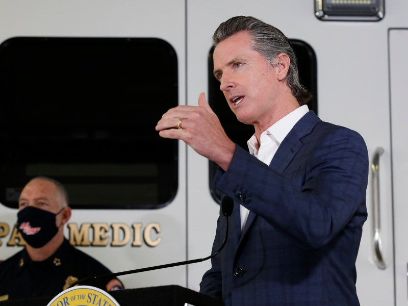 Gov. Gavin Newsom at the CalFire/Cameron Park Fire Station in Cameron Park on May 13, 2020. Photo by Rich Pedroncelli, AP Photo/Pool