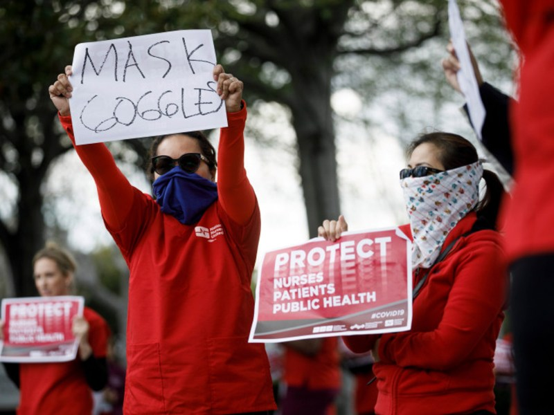 Nurses at the Kaiser Permanente hospital in Fremont including protest urging the hospital to give them the right protective equipment such as N95 masks and goggles, on March 19, 2020, in Fremont. Photo by Dai Sugano/Bay Area News Group