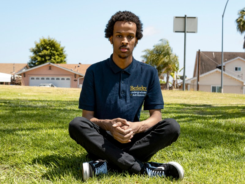 Ahmad Mahmuod at Officer Christopher Wilson Memorial Park, near his childhood home in San Diego. Photo by Arlene Banuelos for CalMatters