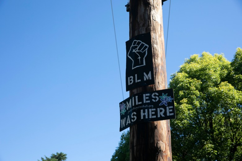 A sign honoring Miles Hall near his family's house in Walnut Creek. Hall was killed by police during a mental health crisis last year. Photo by Anne Wernikoff for CalMatters