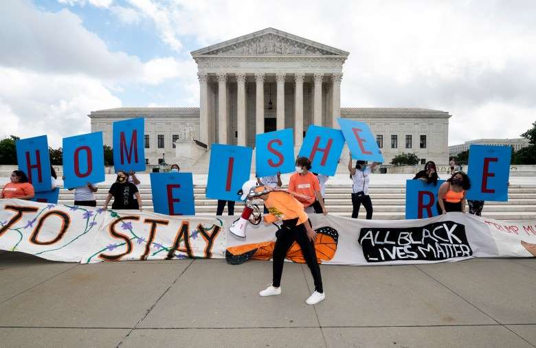 'Dreamers' and DACA supporters rally outside of the U.S. Supreme Court today after the court rejected the Trump administration's push to end an Obama-era program that gives nearly 700,000 so-called Dreamers the ability to work in the United States and avoid deportation. California played a key role in the legal challenge. Photo By Bill Clark/CQ Roll Call via AP Images