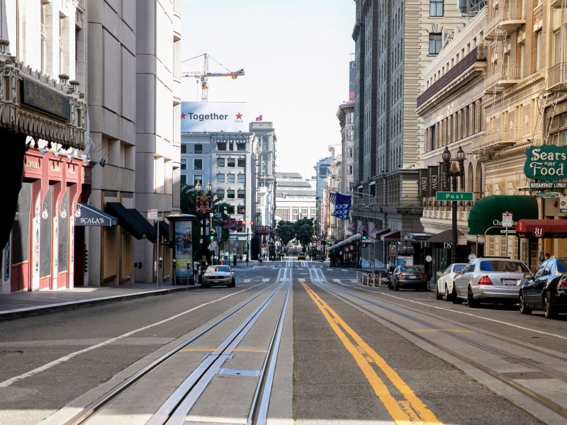 Powell Street in San Francisco, normally a bustling tourist and shopping destination, remains empty on May 7, 2020. San Francisco County will maintain shelter in place orders through the end of May. Photo by Anne Wernikoff for CalMatters