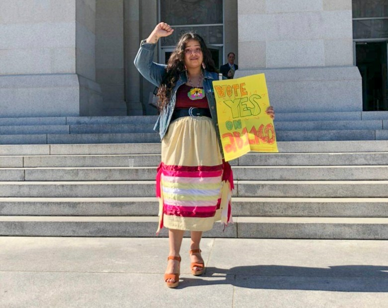 Raven Freebird, a recent graduate of of CSU Northridge, visits the Capitol to lobby for AB 1460 bill. Photo courtesy of Raven Freebird