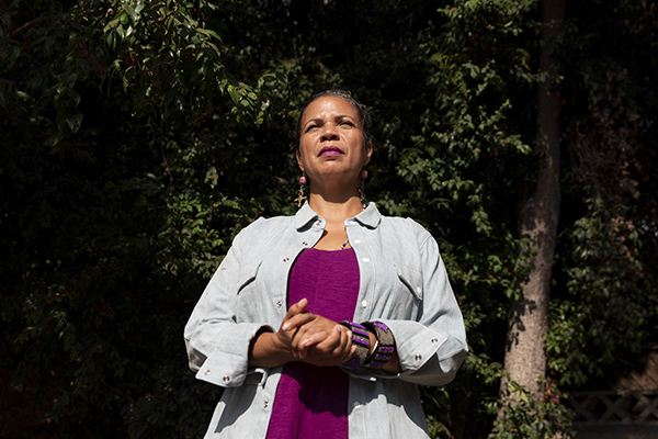 Portrait of Dr. Melina Abdullah, former chair of the department of Pan-African Studies at California State University, Los Angeles, and a co-founder of the Los Angeles chapter of Black Lives Matter on August 18, 2020. Photo by Alexis Hunley for CalMatters