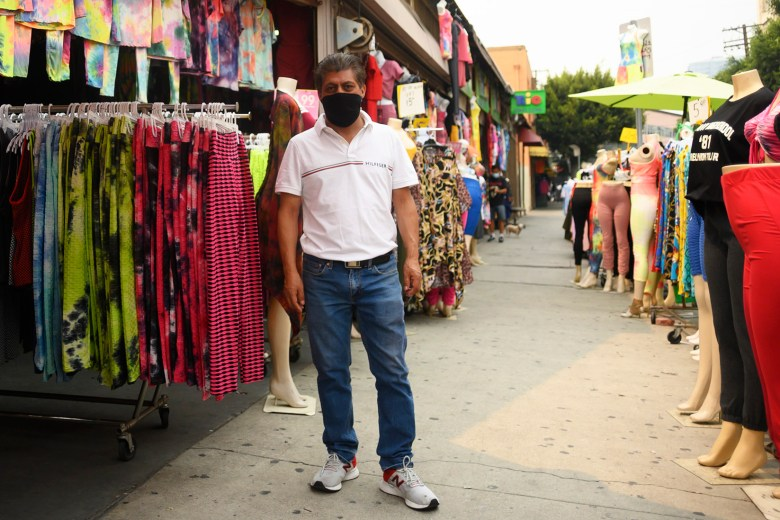 Francisco Tzul, stands in Los Angeles' Garment District on Sept. 11, 2020. Photo by Tash Kimmel for CalMatters.