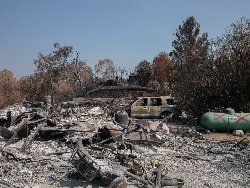 The remains of a burned home in Berryessa Highlands on Sept. 21, 2020. Photo by Anne Wernikoff for CalMatters