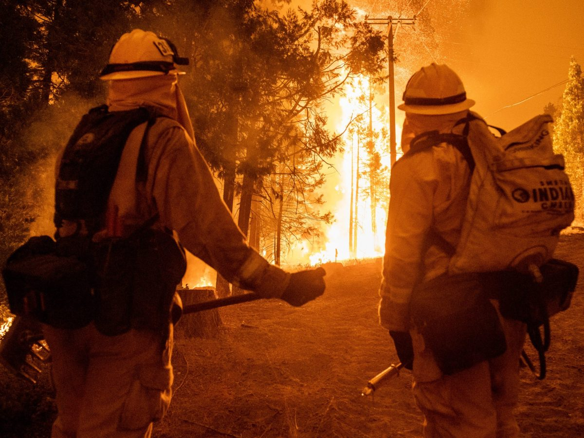 Wind and flames leap high in the air as firefighters attempt to put out the Creek Fire off of Camp Sierra Road and Reddin Road Northeast of Shaver Lake in Fresno County. As of 8:00 p.m. the fire has consumed over 73,000 acres and is at 0% containment. More than 800 firefighters are at the scene, and more are on the way to Fresno County on Sunday, Sep. 6, 2020. Photo by David Rodriguez, The Salinas Californian
