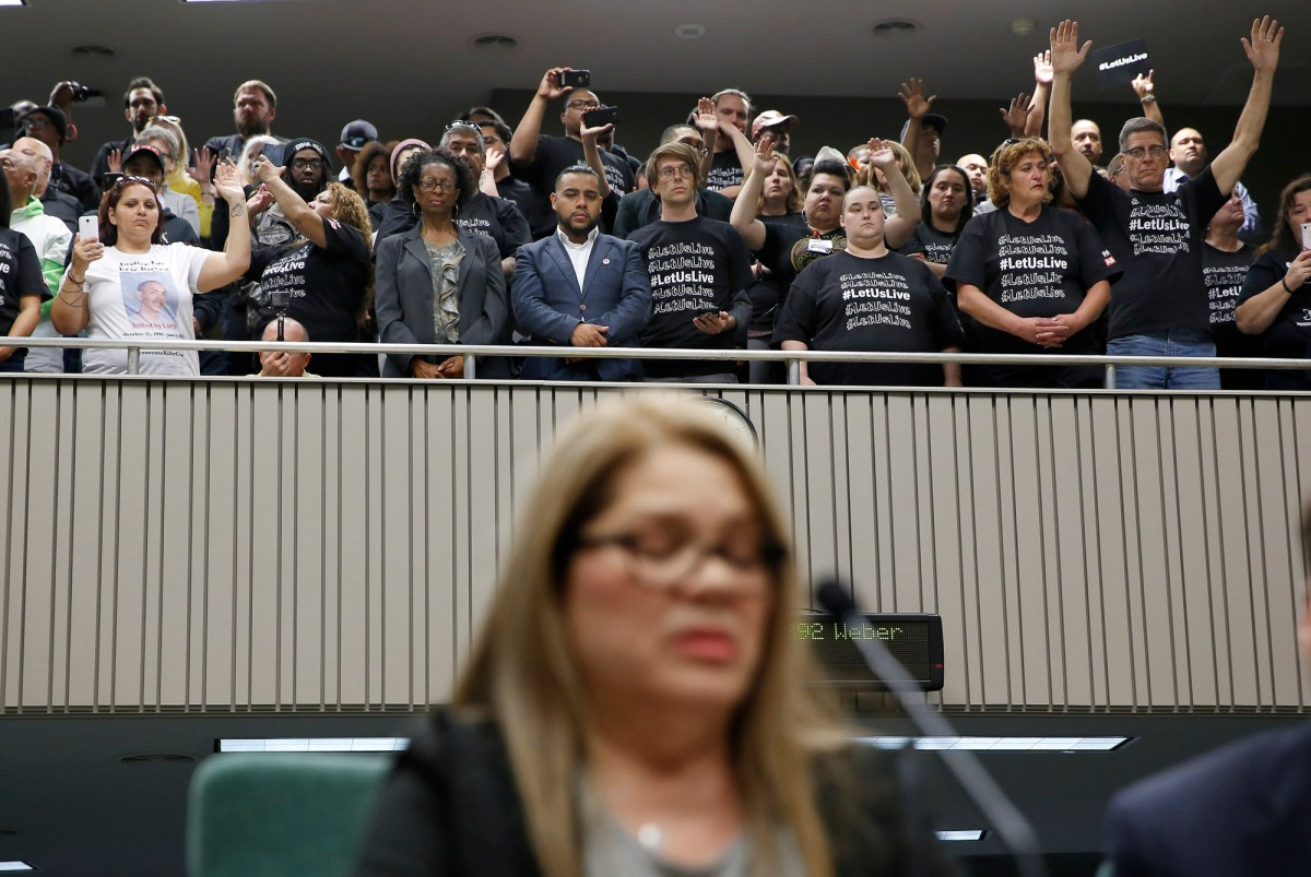 Supporters of a measure to restrict the use of deadly force by police, stand in the gallery as Elizabeth Medrano Escobedo, the mother of police shooting victim Christian Escobedo, testifies in favor of the bill on April 9, 2019, in Sacramento. Photo by Rich Pedroncelli, AP Photo