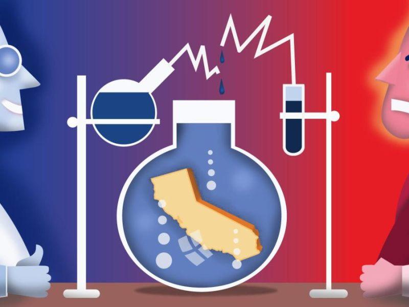 California se ha convertido en un laboratorio de políticas progresistas. Ilustración de Dan Hubig para CalMatters