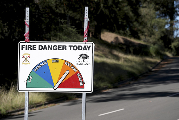 A high fire danger sign is seen along Skyline Boulevard in the hills of Oakland in 2019. Photo by Jane Tyska, Bay Area News Group
