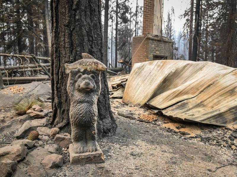 A small bear statue still stands in front of a burned cabin in the Camp Silver Fir area on the north of Huntington Lake on Sunday, Sept. 13, 2020. Fire officials said a fire tornado blew through the area at some point last week burning cabins and knocking down many trees. Photo by Craig Kohlruss, The Fresno Bee