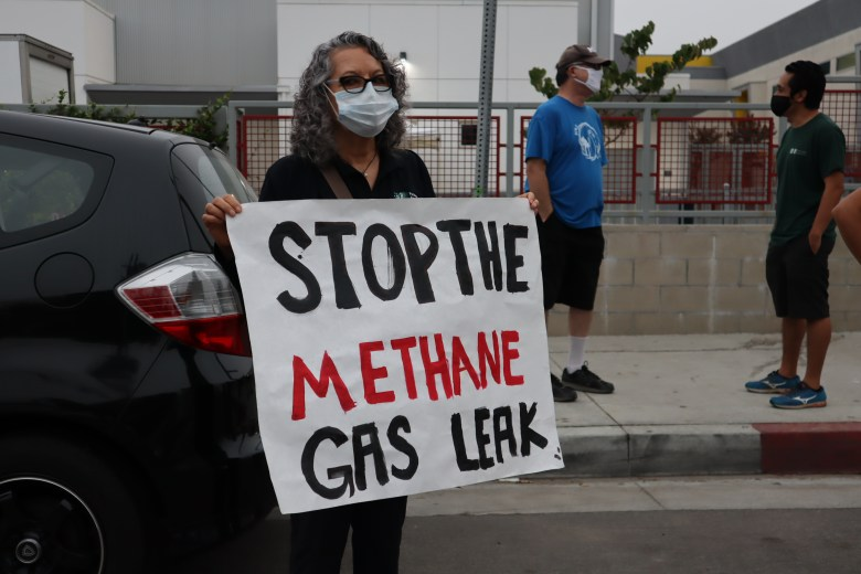 María Madrigal protests for clean air in her neighborhood. Photo by Andrés Rivera/Pacoima Beautiful