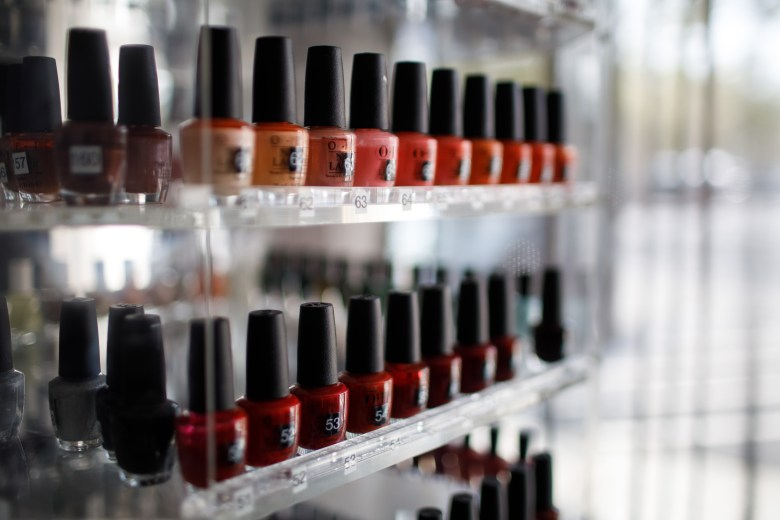 Various nail polishes are seen inside La Orquidea Salon and Spa, which has been closed since March, on Aug. 25, 2020, in Los Gatos. While most of the state's businesses have been able to resume some activity, nail salons have remained largely closed under state and local health orders since the start of the pandemic. Photo by Dai Sugano, Bay Area News Group