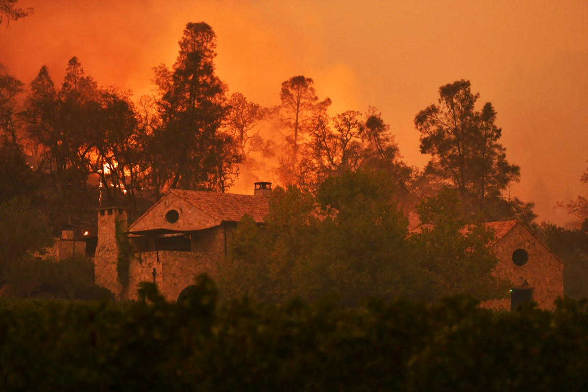 The Glass Fire burns behind Kelly Fleming Wines in Calistoga on Sept. 28, 2020. All of Calistoga was under mandatory evacuation Monday night. Photo by Jose Carlos Fajardo, Bay Area News Group